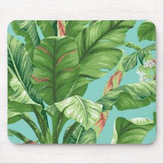 Vintage Banana leaf & flower painting Mouse Mat