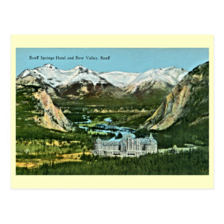 Vintage Banff Springs Hotel and Bow Valley Postcard