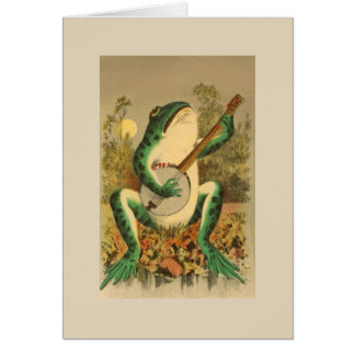 Vintage Banjo Playing Frog, Card