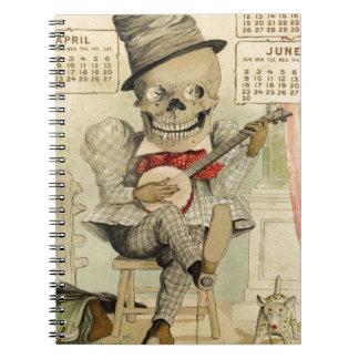 Vintage Banjo Playing Skeleton Notebook