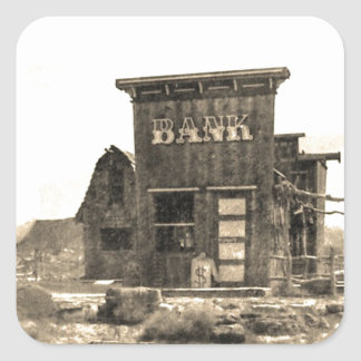 Vintage Bank Building Square Sticker
