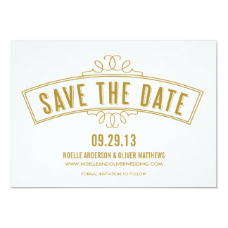 "VINTAGE BANNER | SAVE THE DATE ANNOUNCEMENT 5"" X 7"" INVITATION CARD"