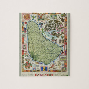 Vintage Barbados Island Map Jigsaw Puzzle