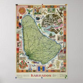 Vintage Barbados Map Poster
