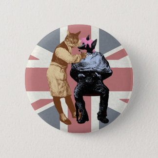 Vintage Barber Cat and Dog 6 Cm Round Badge