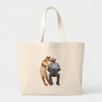 Vintage Barber Cat and Dog Large Tote Bag