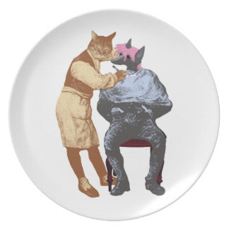Vintage Barber Cat and Dog Party Plates