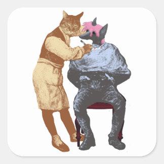 Vintage Barber Cat and Dog Square Sticker