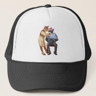 Vintage Barber Cat and Dog Trucker Hat