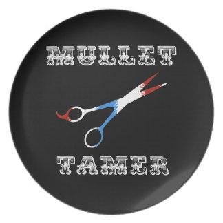 vintage barber funny  mullet tamer plate