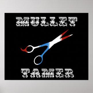 vintage barber funny  mullet tamer poster
