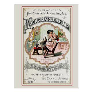 Vintage Barber Shop Shaving Post Card