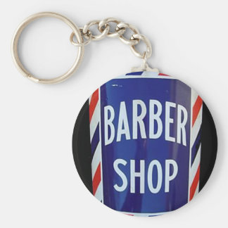 Vintage barbershop sign basic round button key ring