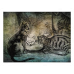 Vintage Barn Cats Personalised Cat Illustration