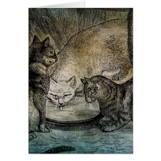 Vintage Barn Cats Personalized Cat Illustration Greeting Card