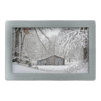 Vintage Barn in Fresh Snow - Rural Tennessee Belt Buckles