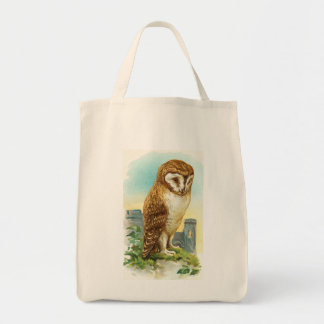 Vintage Barn Owl Grocery Tote Bag