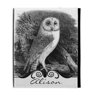 Vintage barn owl illustration iPad folio cases