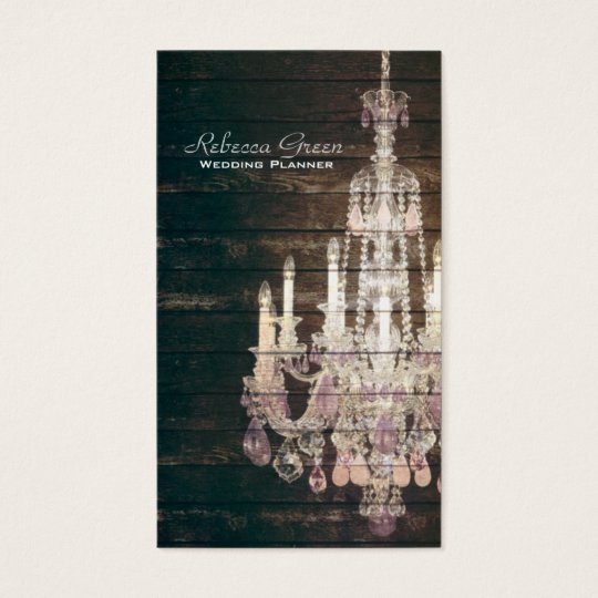 Vintage Barn Wood Chandelier Wedding Business Card