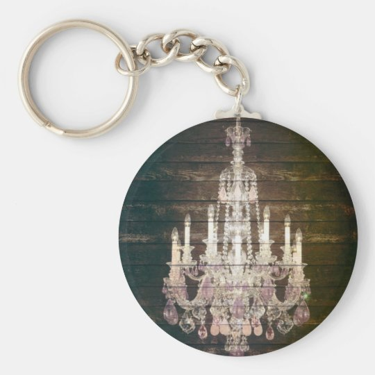 Vintage Barn Wood Chandelier Wedding favour Basic Round Button Key Ring