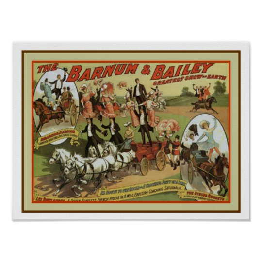 Vintage Barnum and Bailey Ad Poster 12 x