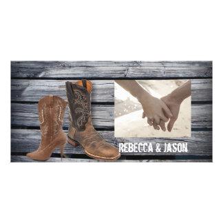 vintage barnwood Cowboy Boots Country wedding Customized Photo Card