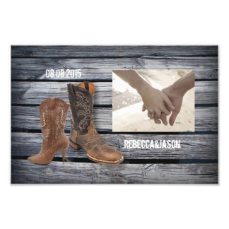 vintage barnwood Cowboy Boots Country wedding Photograph