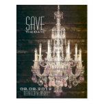 vintage barnwood purple chandelier Save The date