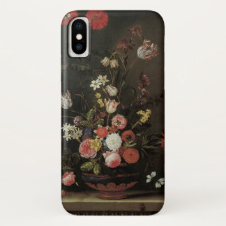 Vintage Baroque Floral Still Life Flowers in Vase iPhone X Case