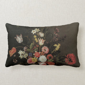 Vintage Baroque Floral Still Life Flowers in Vase Lumbar Cushion