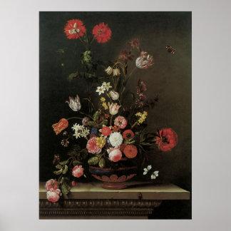 Vintage Baroque Floral Still Life Flowers in Vase Poster