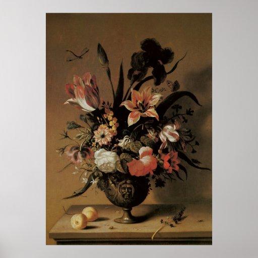 Vintage Baroque, Floral Still Life Flowers in Vase