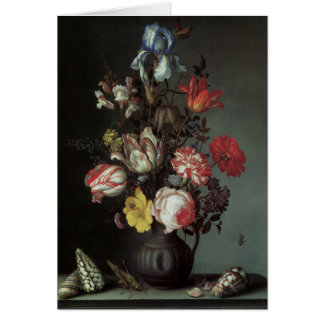 Vintage Baroque Flowers by Balthasar van der Ast Card