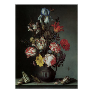 Vintage Baroque Flowers by Balthasar van der Ast Poster