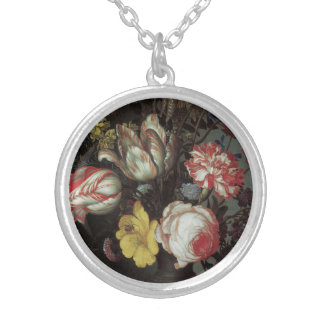 Vintage Baroque Flowers by Balthasar van der Ast Round Pendant Necklace