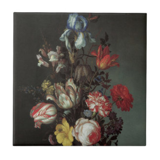Vintage Baroque Flowers by Balthasar van der Ast Small Square Tile