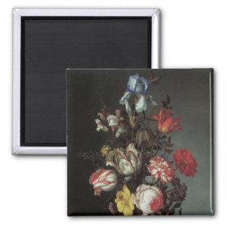 Vintage Baroque Flowers by Balthasar van der Ast Square Magnet