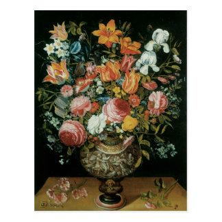 Vintage Baroque Still Life Flowers in a Vase Postcard