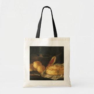 Vintage Baroque Still Life with Bread, Tart, Ham Budget Tote Bag