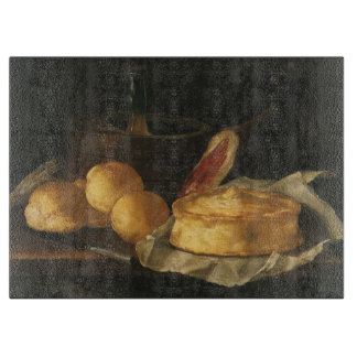 Vintage Baroque Still Life with Bread, Tart, Ham Cutting Board
