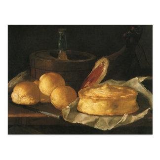 Vintage Baroque Still Life with Bread, Tart, Ham Postcard