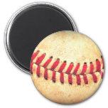 Vintage baseball ball 6 cm round magnet