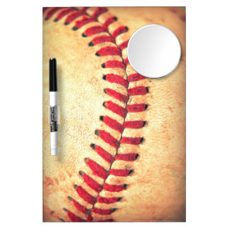 Vintage baseball ball dry erase board with mirror