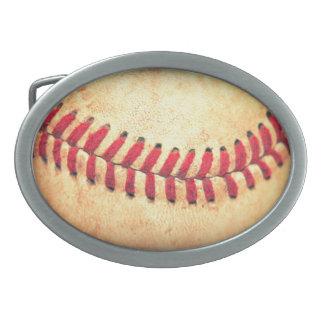 Vintage baseball ball oval belt buckles