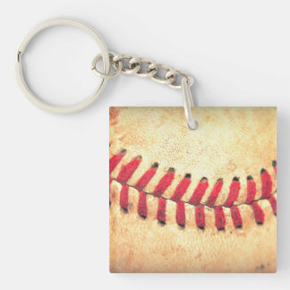 Vintage baseball ball Single-Sided square acrylic key ring