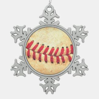 Vintage baseball ball snowflake pewter christmas ornament