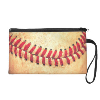 Vintage baseball ball wristlet purse