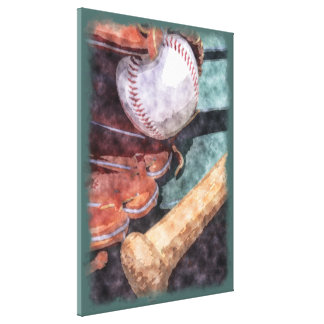 Vintage Baseball Bat Glove Watercolor Painting Gallery Wrapped Canvas
