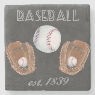 Vintage Baseball Chalkboard Design Stone Coaster