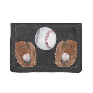 Vintage Baseball Chalkboard Design Tri-fold Wallets